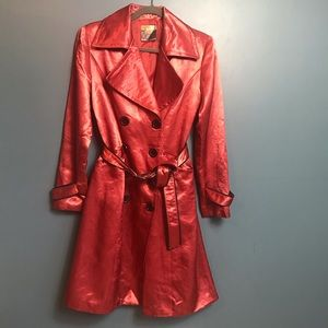 Wilsons Leather Trench Coat Jacket Small Polyester